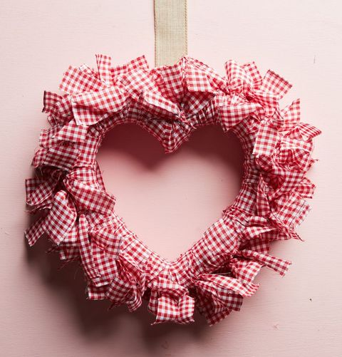 gingham fabric covered heart shaped wreath