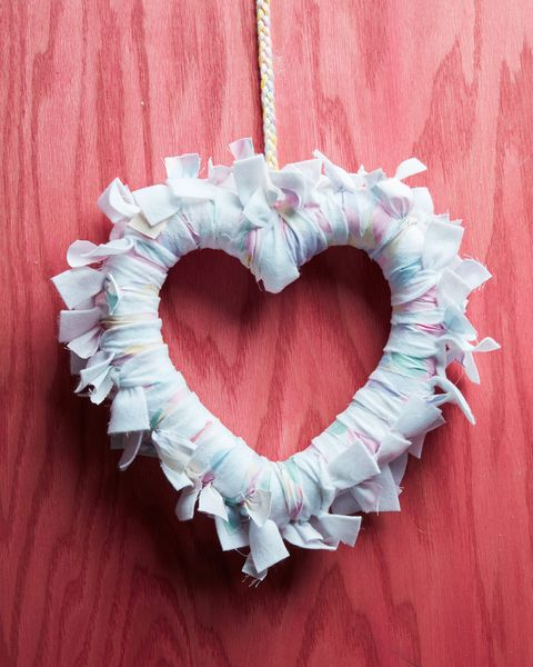 heart shaped rag wreath