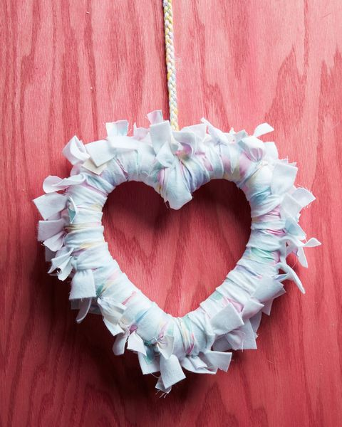 heart shaped rag wreath