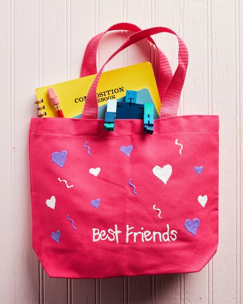 puff paint valentines tote bag