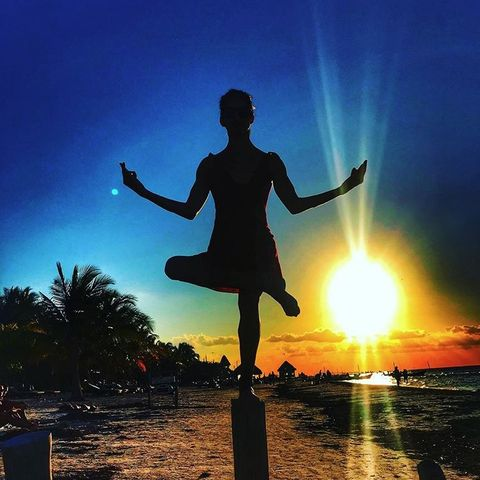 Sky, People in nature, Sunset, Cloud, Happy, Backlighting, Morning, Sunrise, Silhouette, Physical fitness,