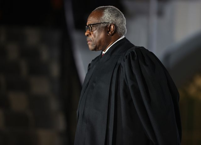 washington, dc   october 26 supreme court associate justice clarence thomas attends the ceremonial swearing in ceremony for amy coney barrett to be the us supreme court associate justice on the south lawn of the white house october 26, 2020 in washington, dc the senate confirmed barrett's nomination to the supreme court today by a vote of 52 48 photo by tasos katopodisgetty images