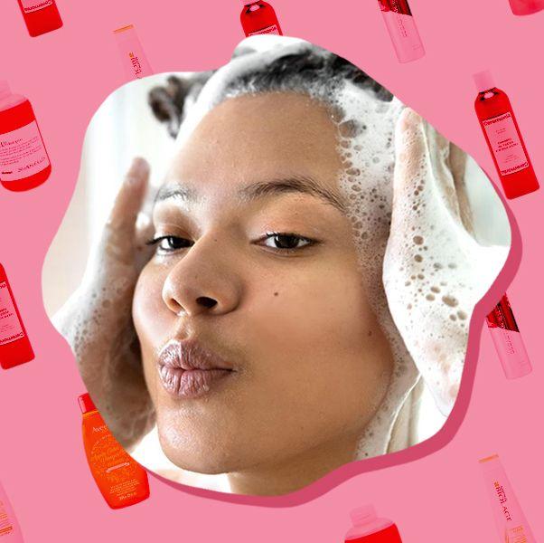 woman shampooing hair with ceremonia champu clarifying shampoo