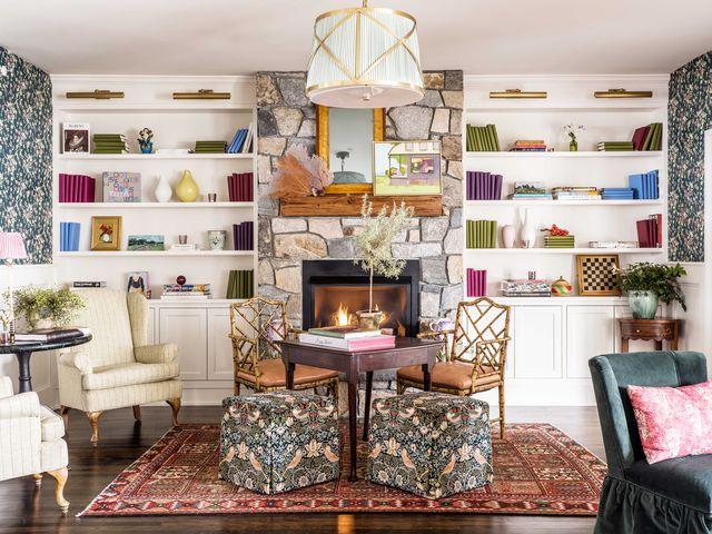 claremont hotel, white storage units, fireplace