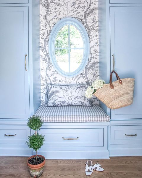 White, Room, Blue, Furniture, Interior design, Mirror, Window, Chest of drawers, Table, Tile,
