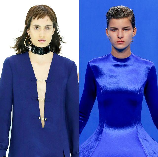 Cobalt blue, Electric blue, Blue, Clothing, Fashion, Fashion model, Fashion design, Event, Formal wear, Outerwear,