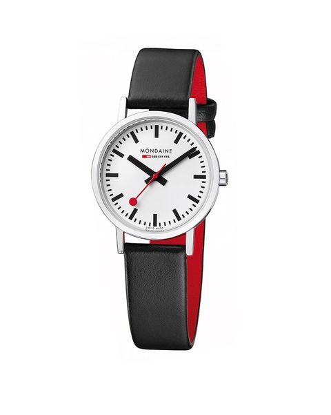 Watch, Analog watch, Watch accessory, Strap, Fashion accessory, Red, Jewellery, Material property, Hardware accessory, Brand,