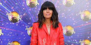 Claudia WInkleman red sequin Zara suit Strictly launch show