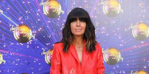 Claudia WInkleman red sequin Zara suit Strictly launch show