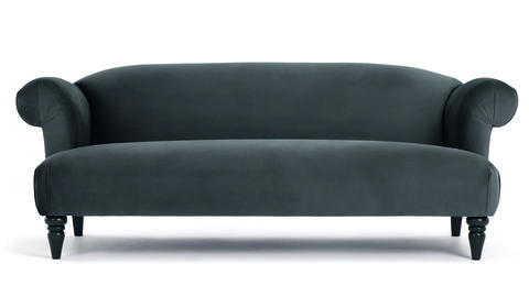 Claudia 3 Seater Sofa, Pewter Grey Velvet, MADE.com