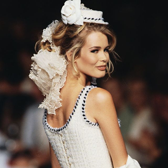 claudia schiffer modeling chanel couture