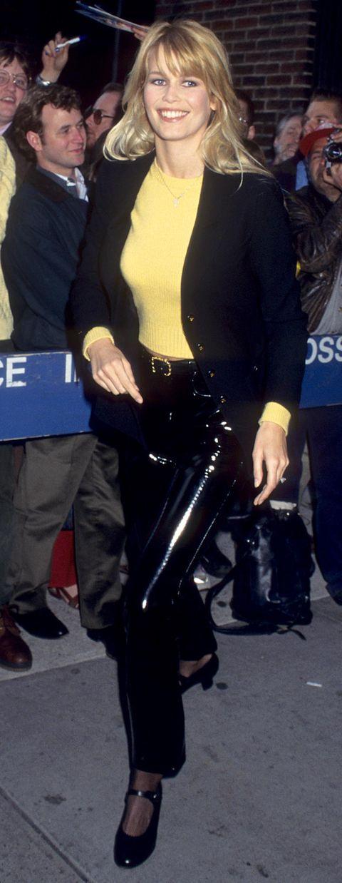 claudia schiffer at the david letterman show april 1, 1995