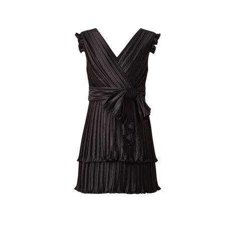 Clothing, Dress, Cocktail dress, Day dress, Black, Little black dress, Shoulder, Ruffle, Textile, Formal wear,