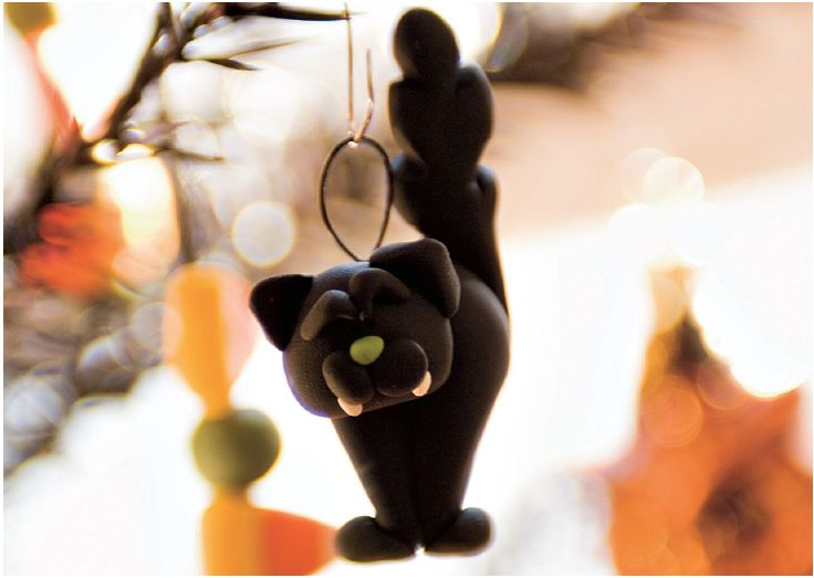 Black Cat Clay Decorations