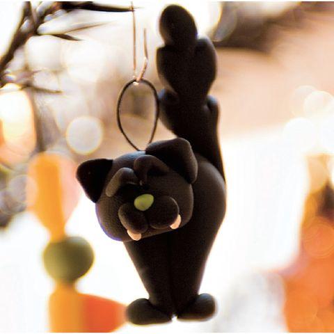 black cat clay decorations