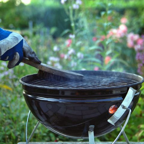cleaning a grill male hand with gloves cleans round grill with stiff brush preparation of a grill before cooking