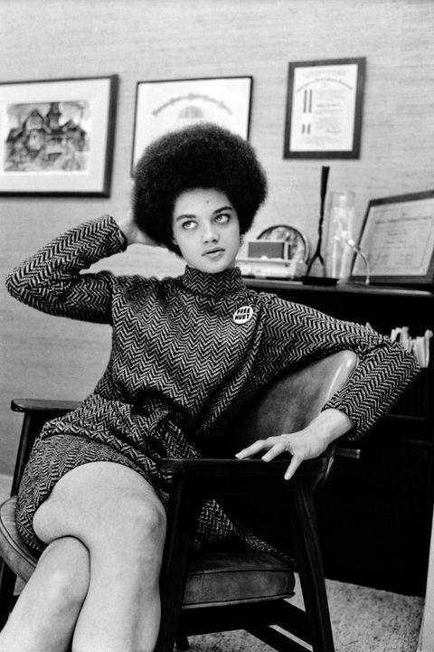 kathleen cleaver, afro, black, feminism, houndstooth, dress, 70s