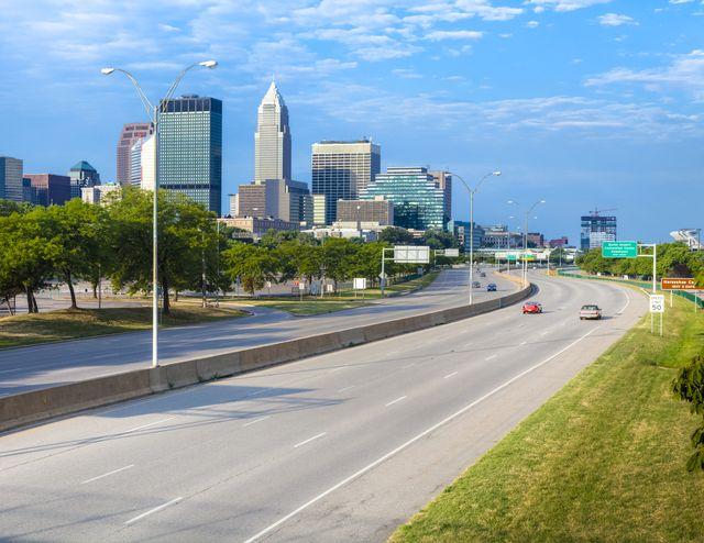 cleveland skyline over interstate 90