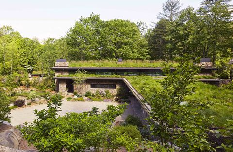 living roof on stone house in mountains