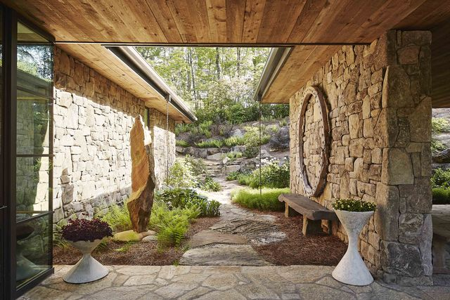 stone path and entryway