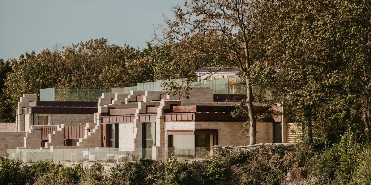 Life on the edge? The Clifftops holiday retreat looks out over Dorset's rocky coastline