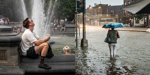 2020 Cloudburst Rain Events.New York Sees Heat Wave Heavy Rain Flash Flooding In