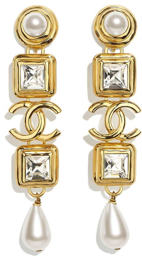 chanel crystal pearl gold drop earrings