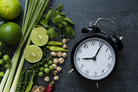 Clock on table prepare for cooking