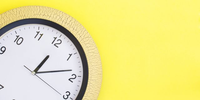 clock on yellow background copy space
