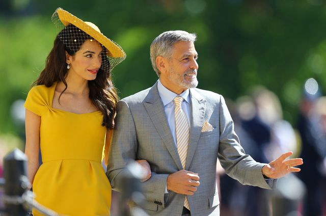 windsor, united kingdom   may 19  amal clooney and george clooney arrive at st georges chapel at windsor castle before the wedding of prince harry to meghan markle on may 19, 2018 in windsor, england photo by gareth fuller   wpa poolgetty images