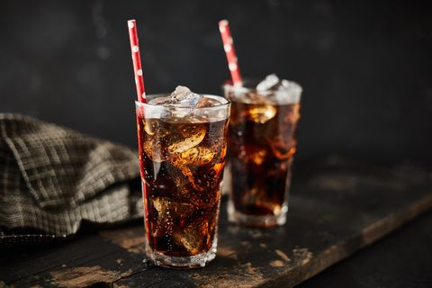 close up glass of refreshing cola