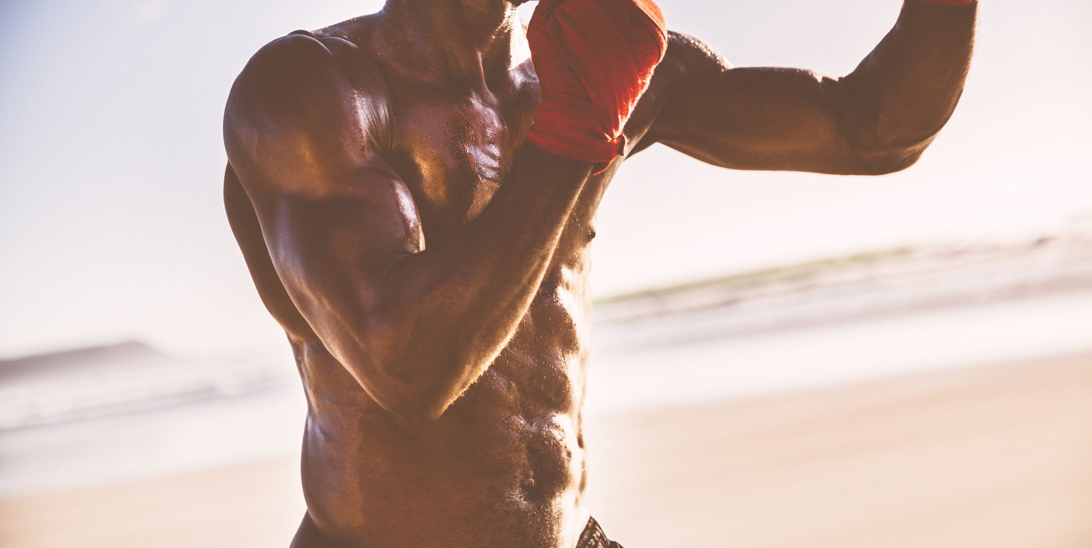 Close up of a fit male body