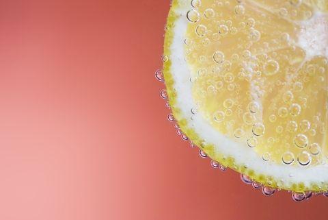 close up of a slice of lemon