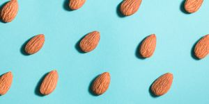 Close Up Of Almonds Arranged