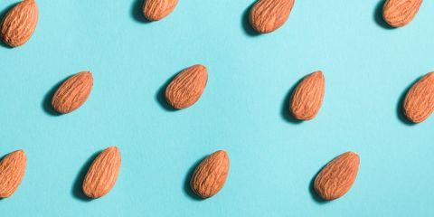 Close Up Of Almonds Arranged