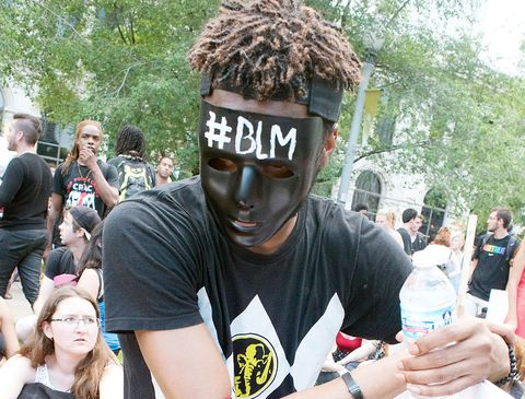 close up of a black lives matter demonstrator