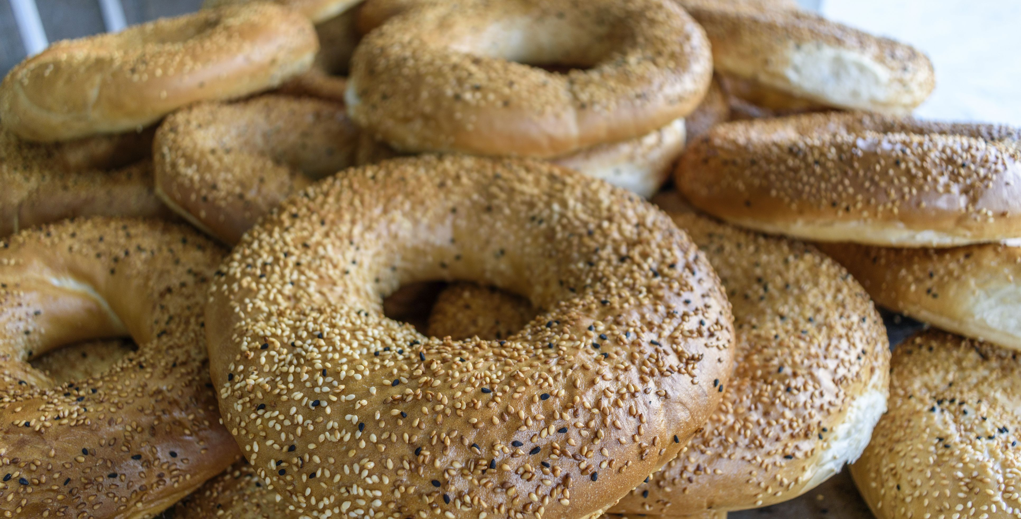 Close up of bagel shaped sesame seed bread in Jordan.