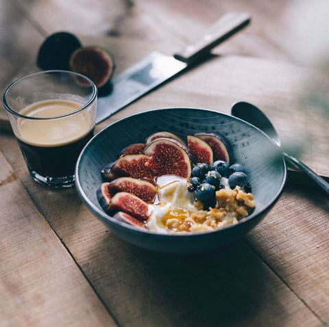 close up of breakfast served in bowl on table
