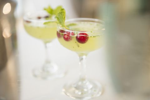 Close up of cocktails with garnish