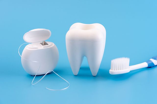 closeup of dental equipment against blue background