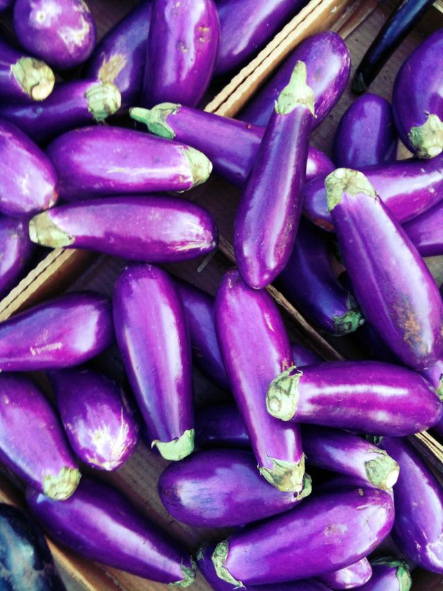 close up of eggplants on display for sale