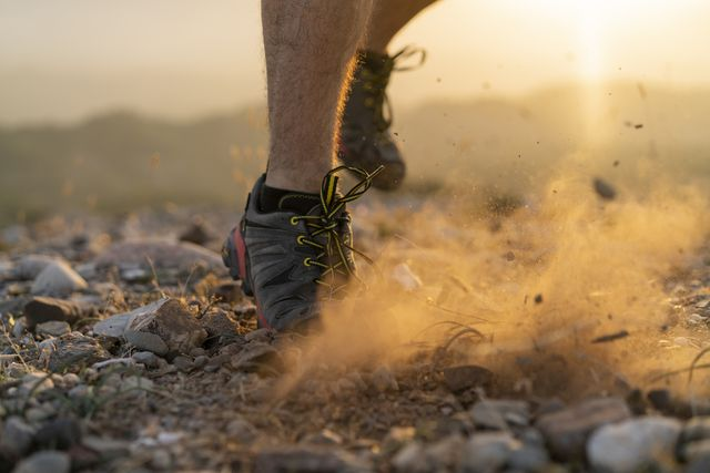close up of feet of a trail runner