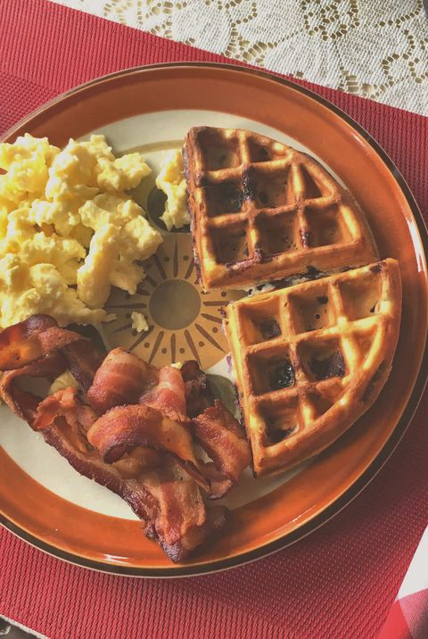 Close-Up Of Food In Plate On Table waffles breakfast