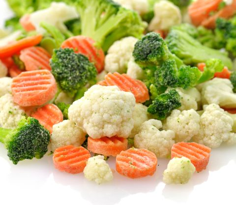Close-up of frozen carrots, broccoli, and cauliflower