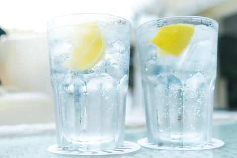 Close-Up Of Gin-Tonic In Glass On Table