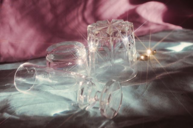 close up of glassware on table