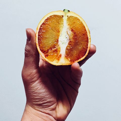 Close-Up Of Hand Holding Blood Orange Slice Against White Background