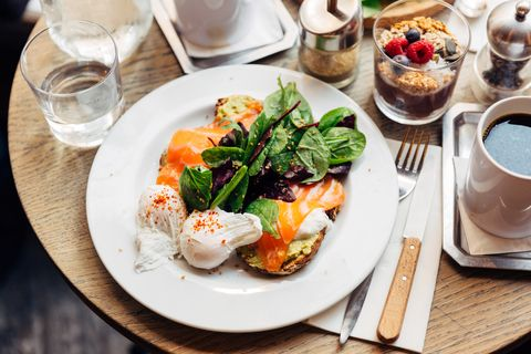 Close up of healthy breakfast with avocado on toast, poached egg and spinach