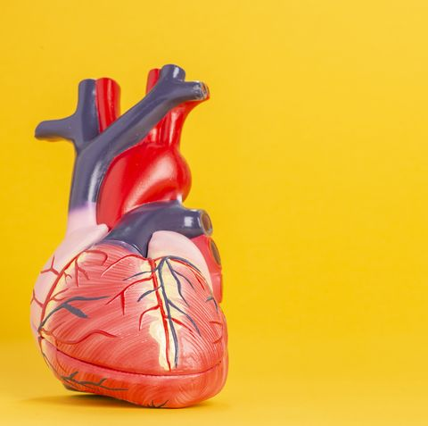 Close-Up Of Heart Model Against Yellow Background