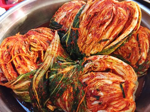 close up of kimchi in bowl